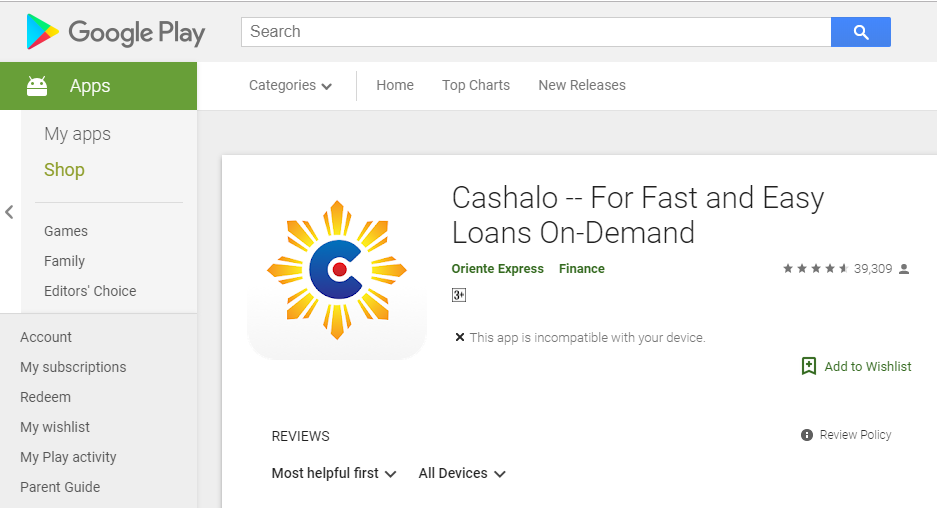 Cashalo android application