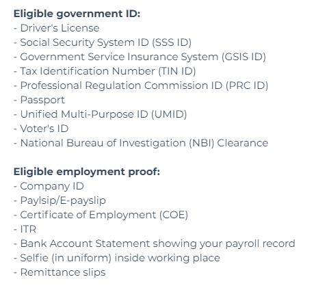 LoanChamp eligible documents